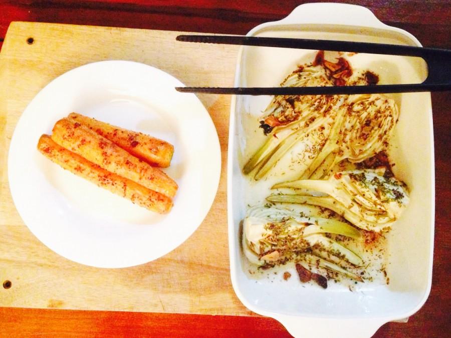 Hinojo y zanahorias asadas con especias